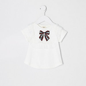 Mini girls white mesh bow T-shirt