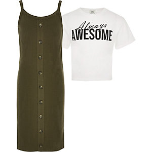 Girls khaki 2 in 1 T-shirt dress