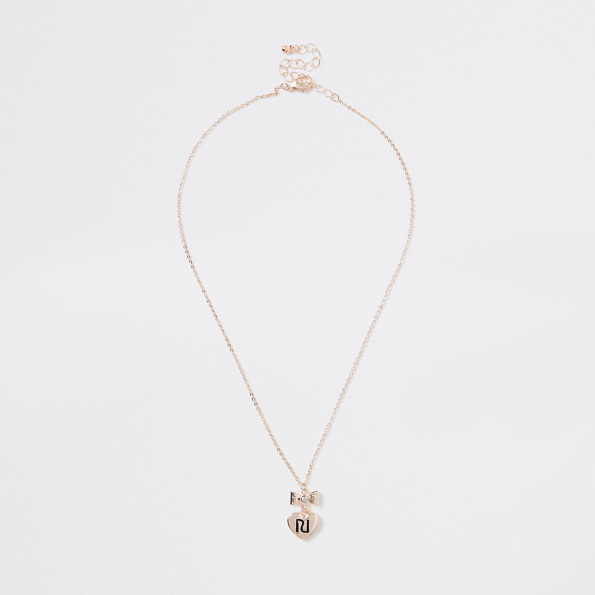Girls gold color RI bow necklace