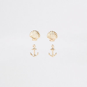 Gold tone anchor earrings multipack