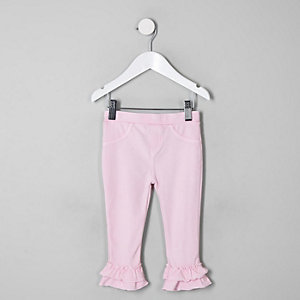 Mini girls pink fluted leggings