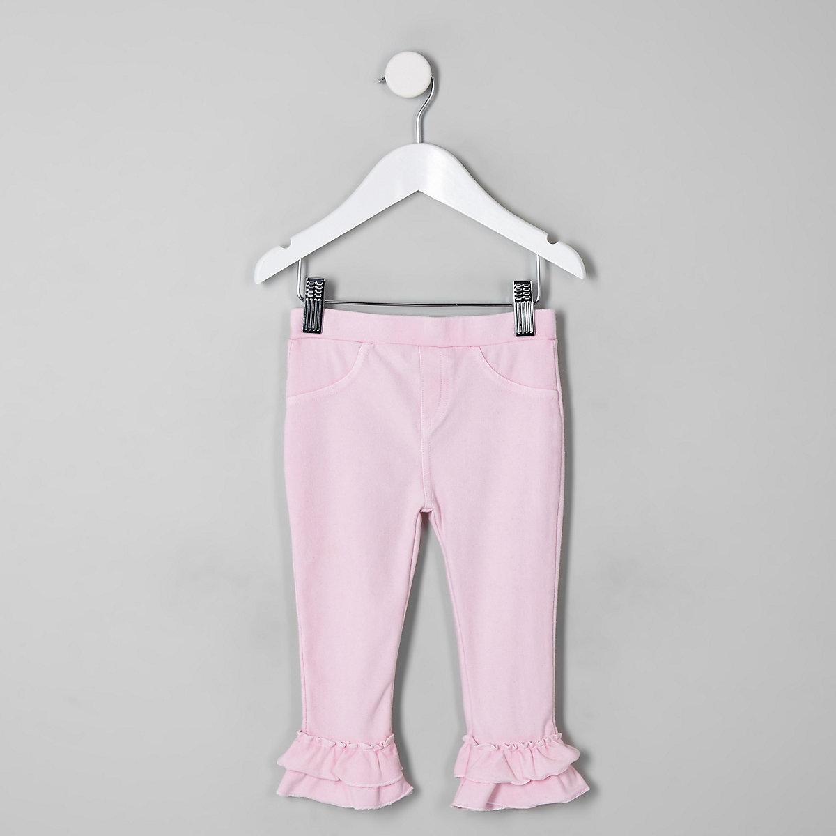 Mini girls pink fluted leggings