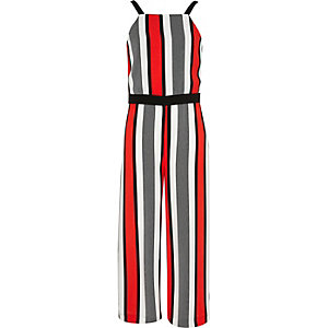 Girls red stripe jumpsuit