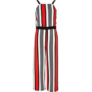 Girls red stripe jumpsuit