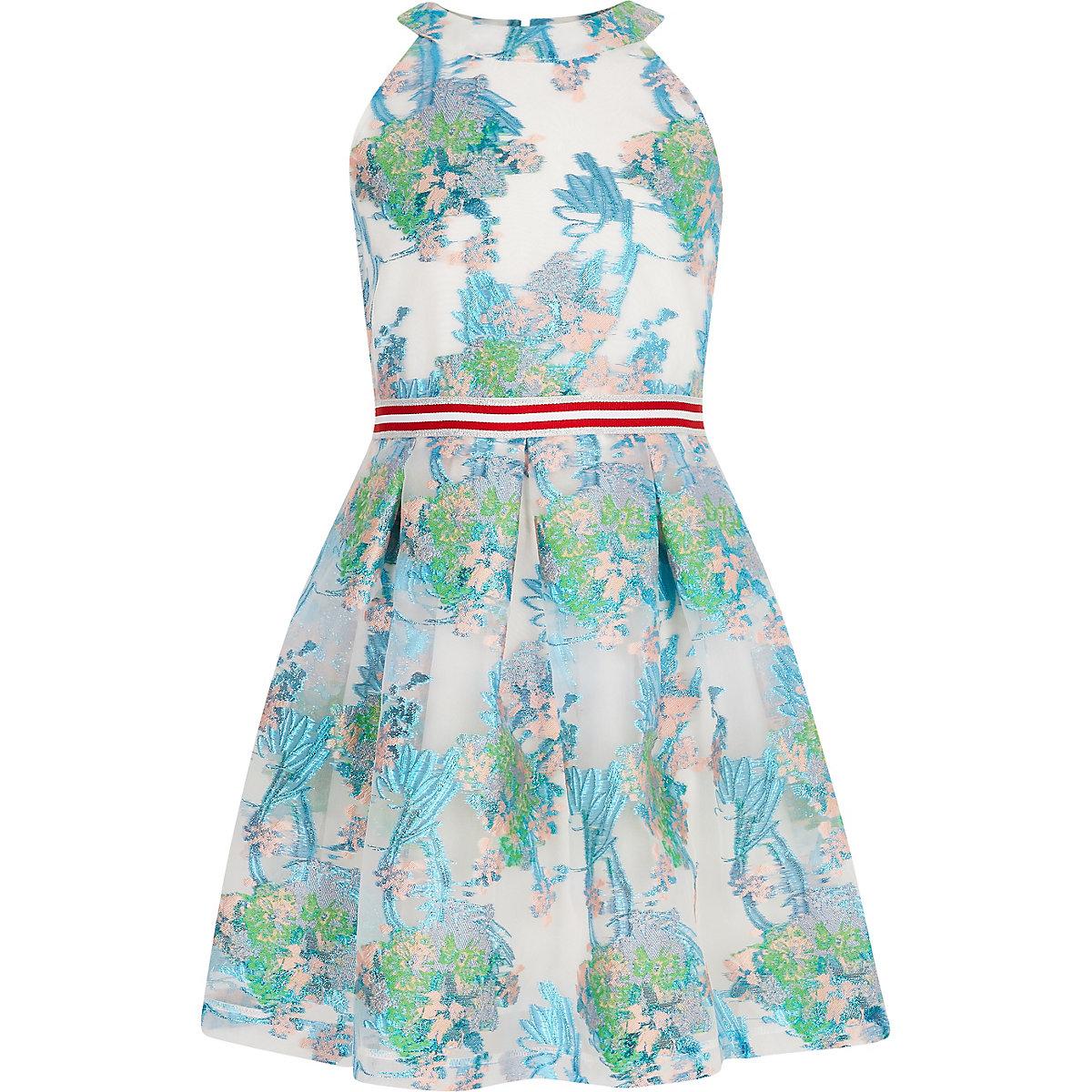 Girls blue floral mesh prom dress