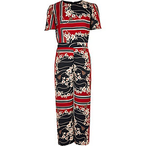 Girls red scarf print jumpsuit