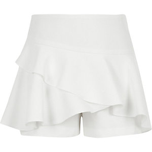 Girls white frill skort