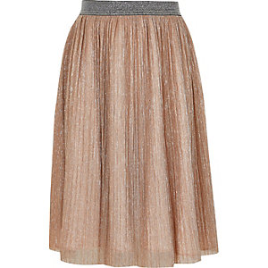 Girls pink metallic midi skirt