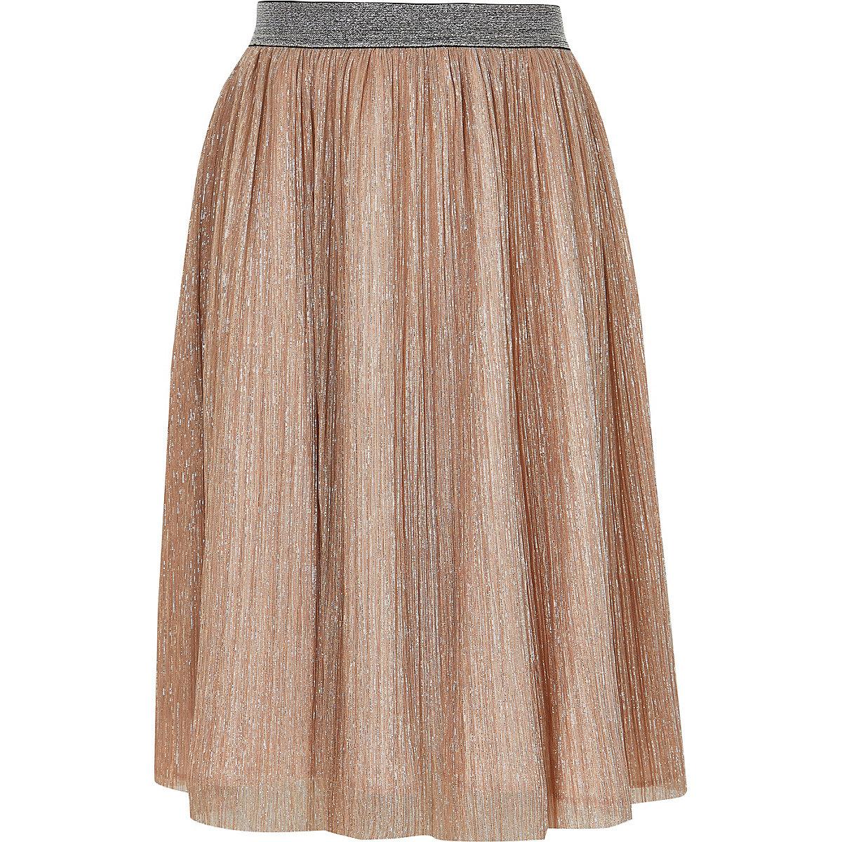 Girls pink metallic midi skirt