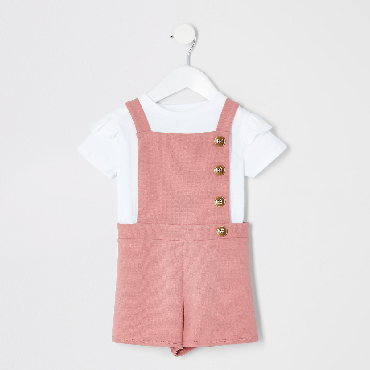 Mini girls pink pinafore romper outfit