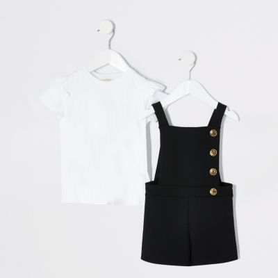 Mini Girls Black Pinafore Playsuit Outfit by River Island