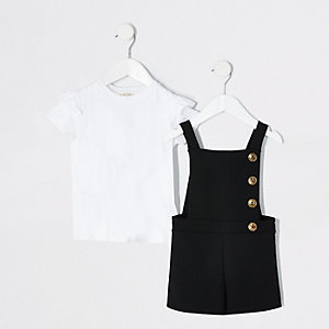 Mini girls black pinafore romper outfit