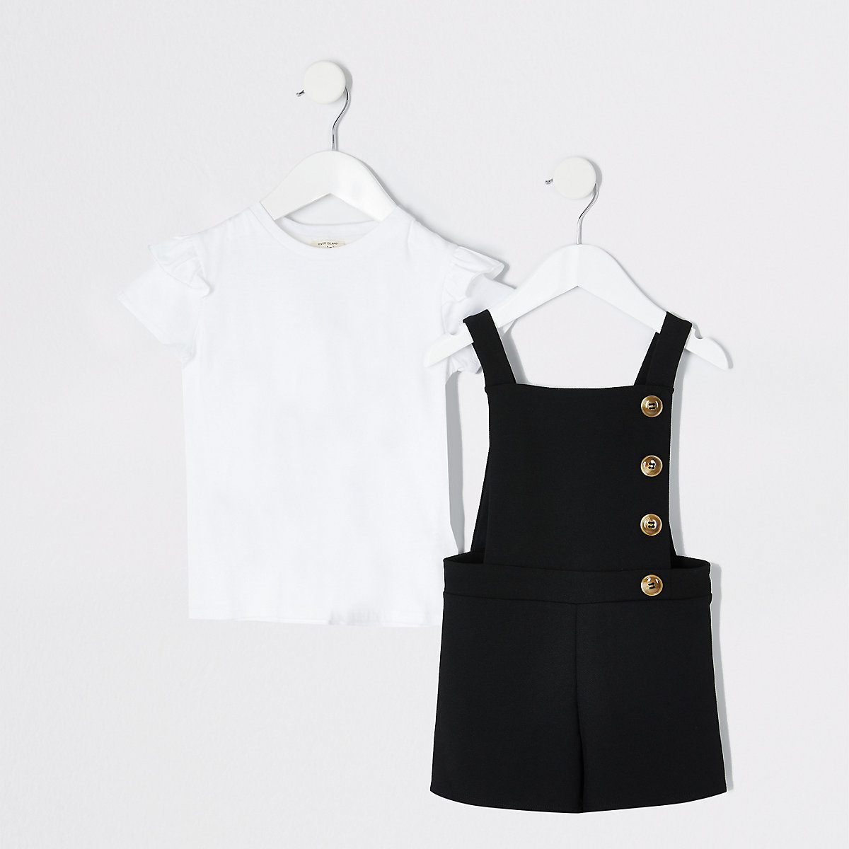 Mini girls black pinafore playsuit outfit