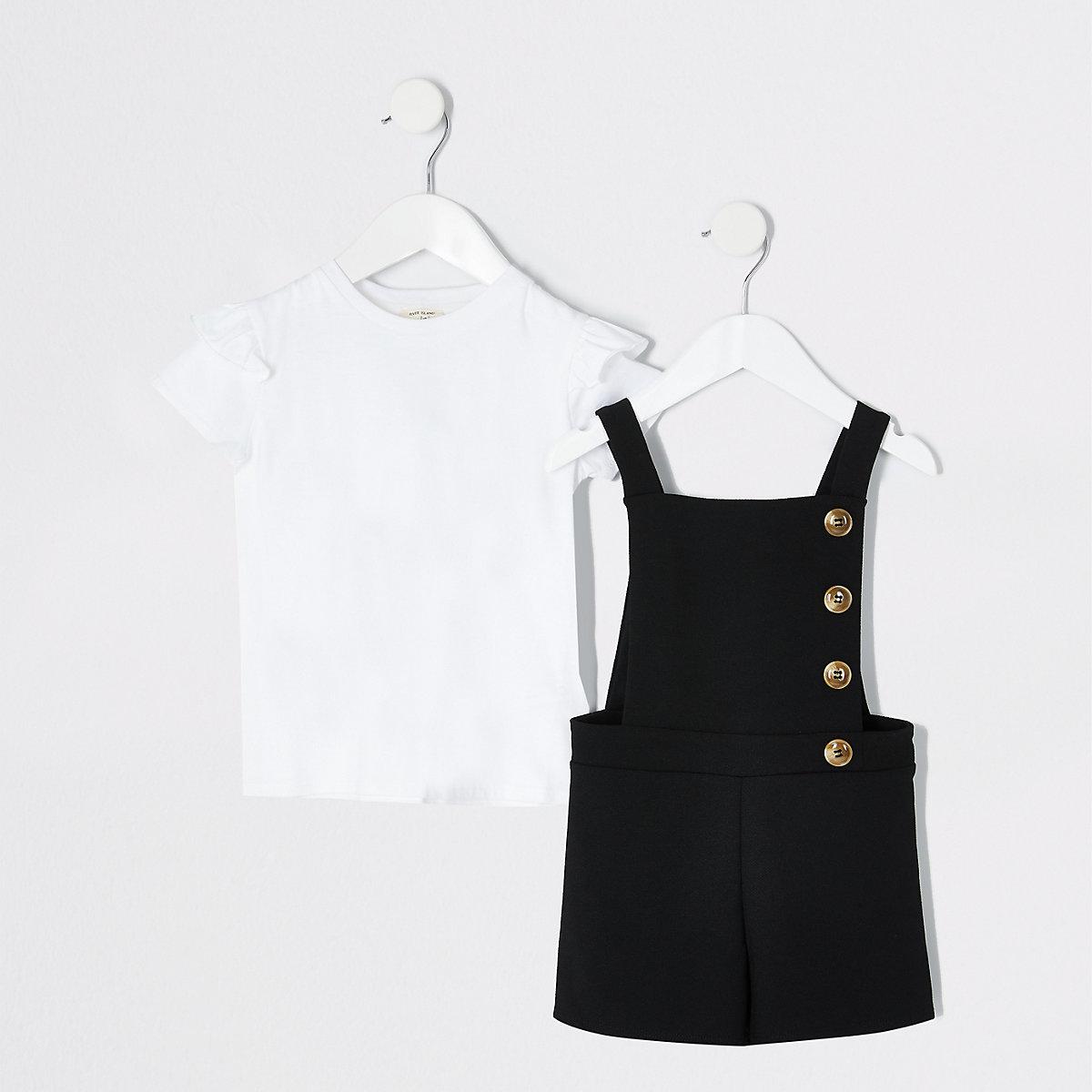 Mini girls black pinafore romper outfit