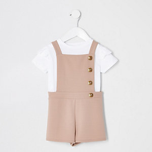 Mini girls beige pinafore romper outfit