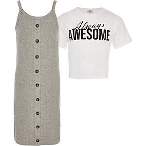 Robe t-shirt 2 en 1 grise pour fille