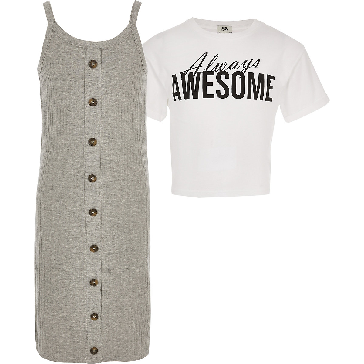 Girls grey 2 in 1 T-shirt dress