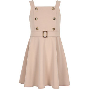 Girls beige double button skater dress