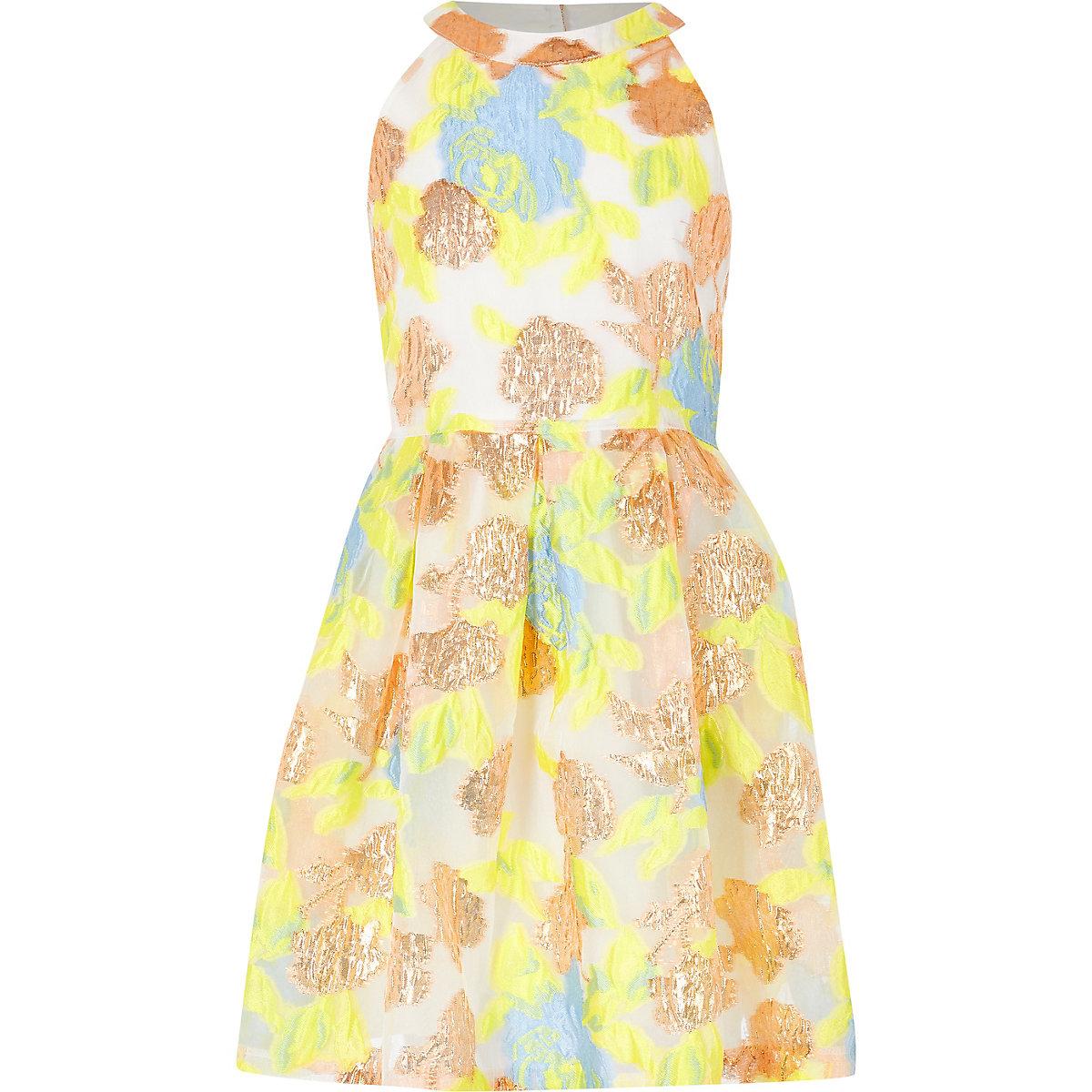 Girls yellow metallic prom dress