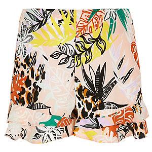 Girls pink print frill shorts