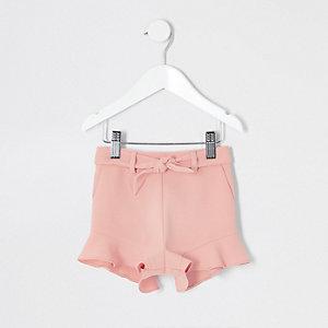 Mini - Roze short met ruches voor meisjes