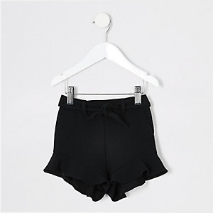 Short noir à volant mini fille