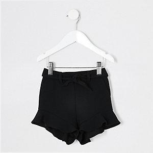 Mini - Zwarte short met ruches voor meisjes