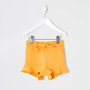 Mini - Gele short met ruches voor meisjes