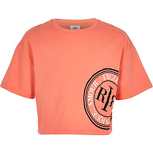 Girls coral RI crop T-shirt
