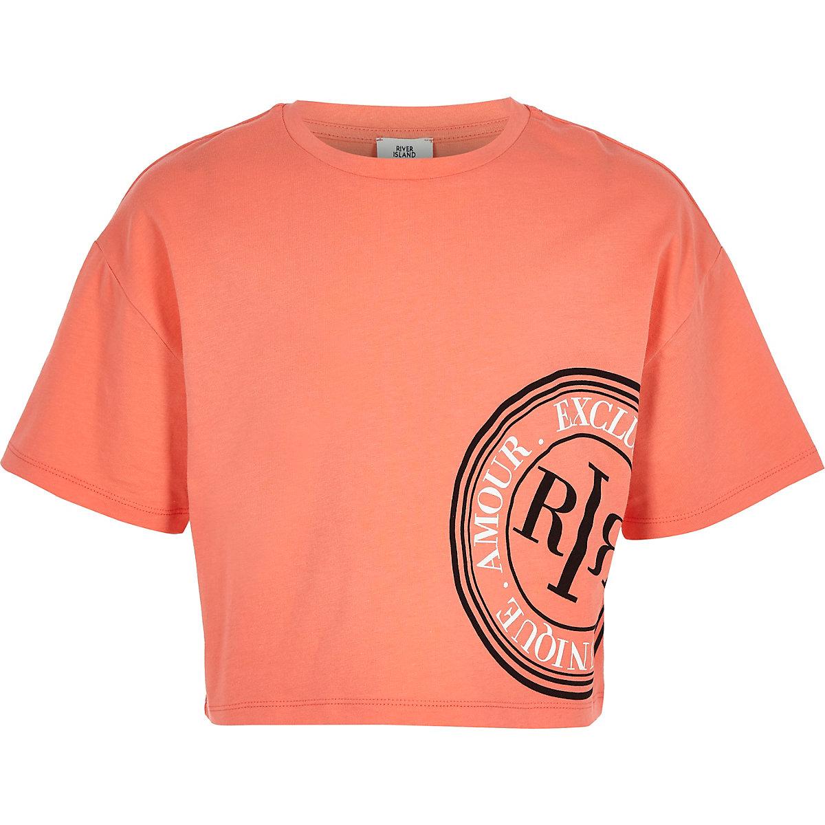 Girls coral RI crop T-shirt