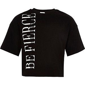 Girls black 'Be fierce' printed crop T-shirt