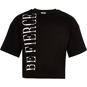 T-shirt court imprimé «Be fierce» noir pour fille