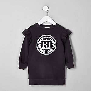 Mini girls dark grey RI frill sweater dress