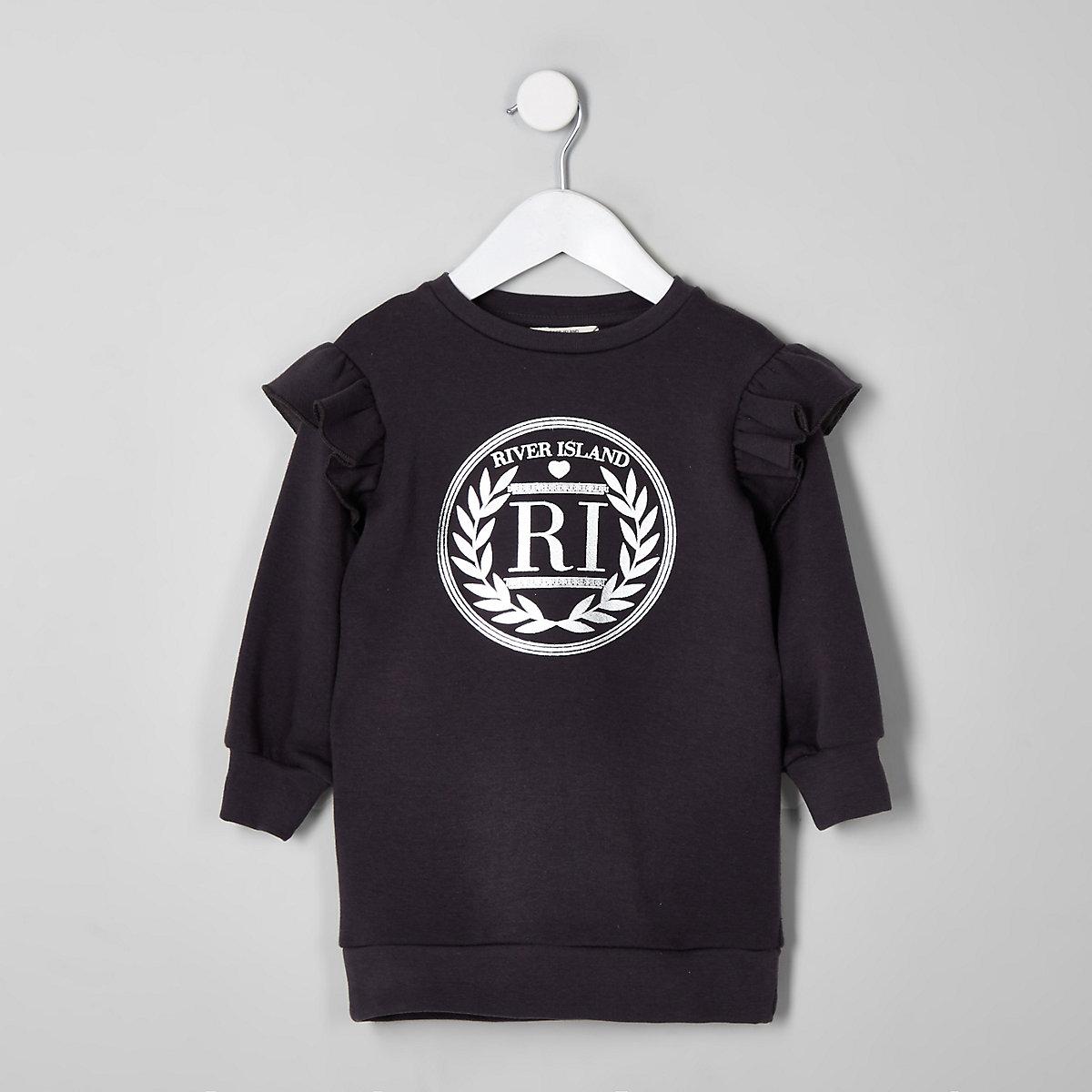 Mini girls dark grey RI frill sweater dress