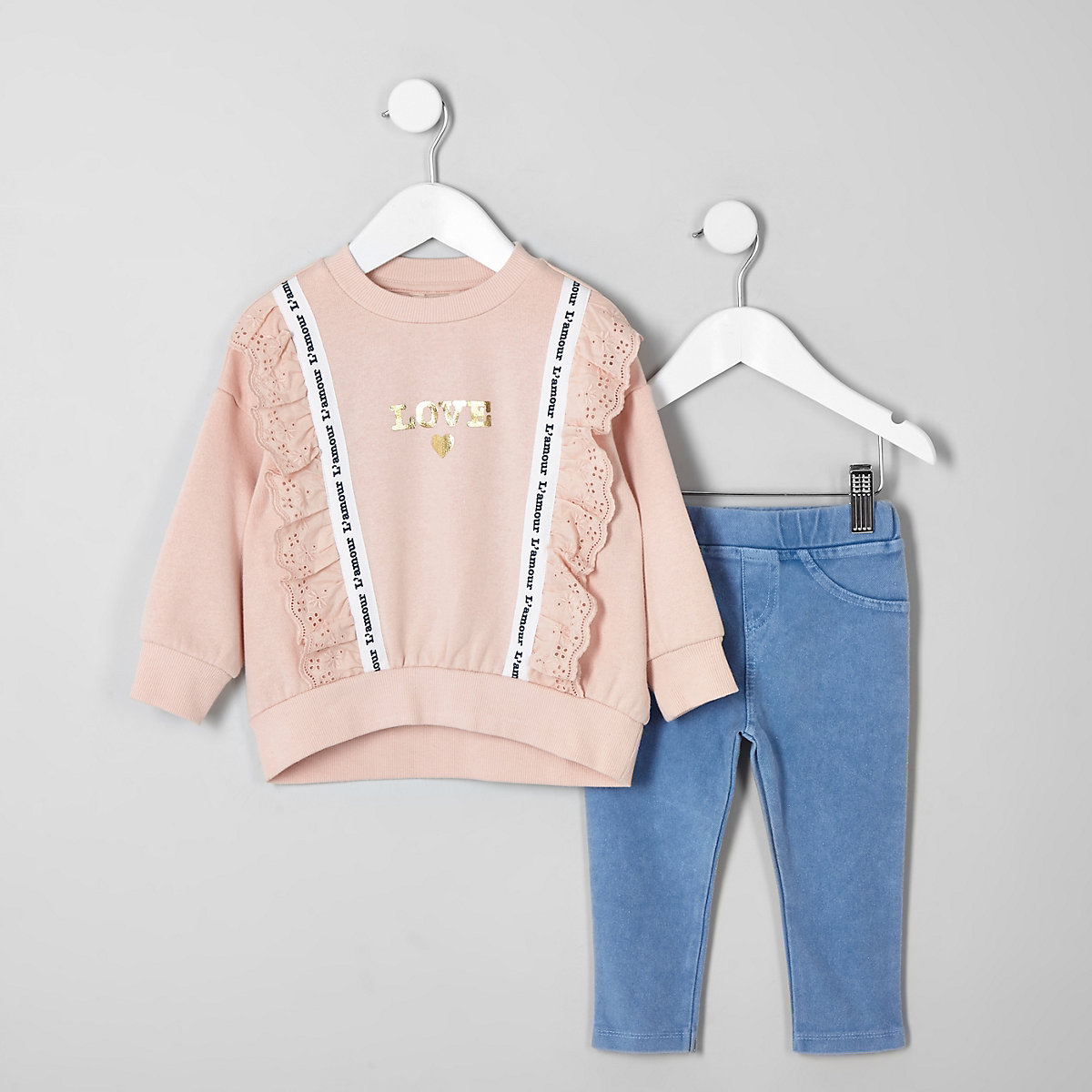 Mini girls coral lace trim sweatshirt outfit