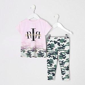 Ensemble avec t-shirt RI camouflage rose dégradé mini fille