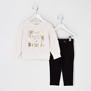 Mini girls white gold foil sweatshirt outfit