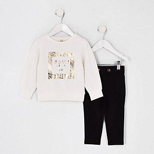 Mini - Outfit met wit sweatshirt met goudkleurige folie voor meisjes