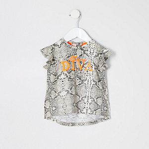 Mini girls grey 'diva' snake print top