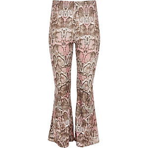 Girls pink snake print flared pants