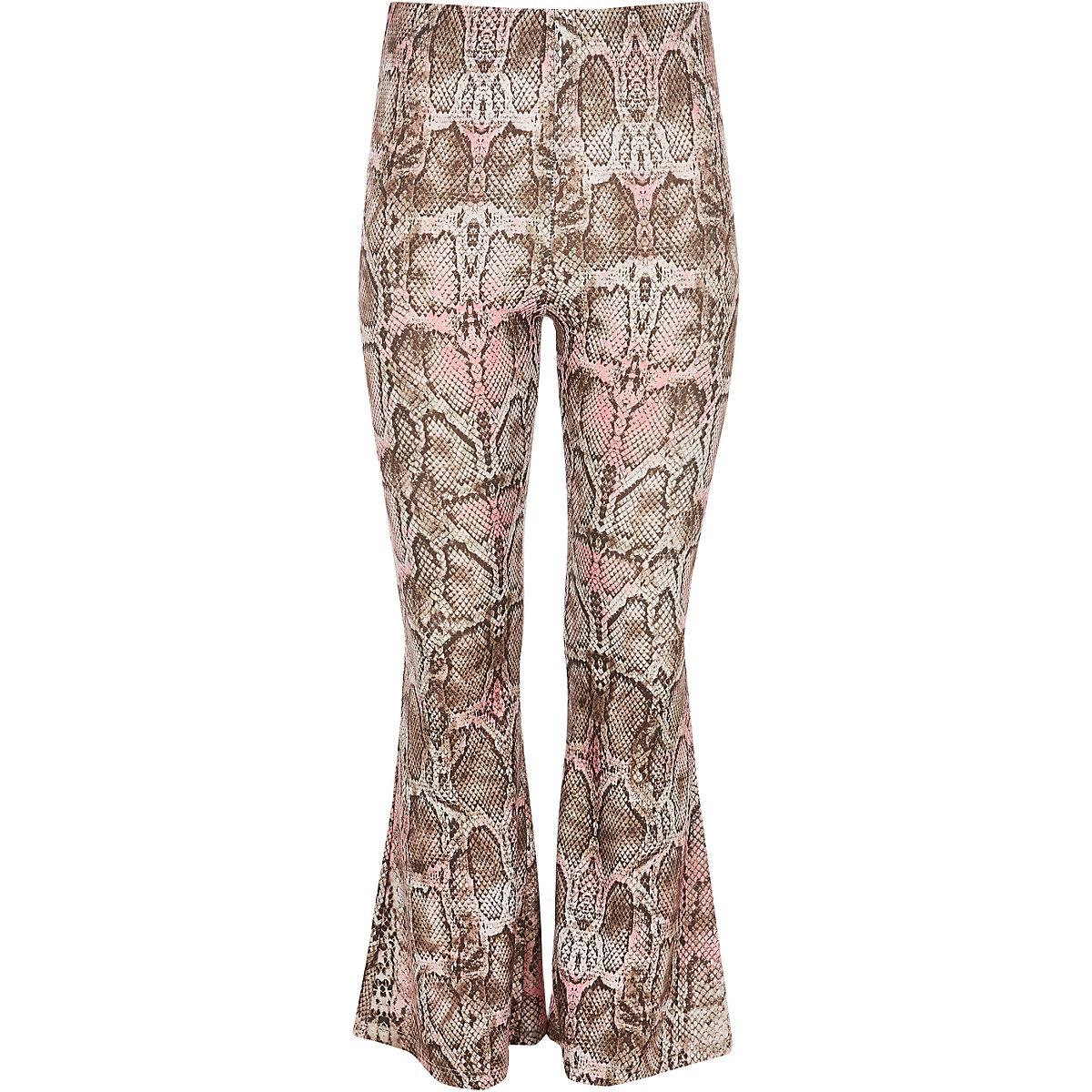 Girls pink snake print flared pants