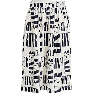 Girls white RI pleated midi skirt