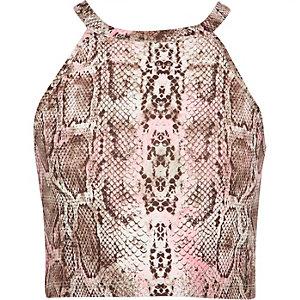 Girls pink snake print crop top