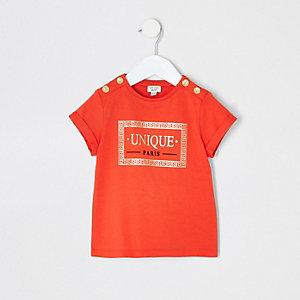 Mini - Rood T-shirt met print en knopen voor meisjes