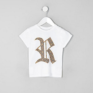 Mini girls white family twinning RI T-shirt