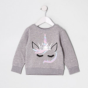 Mini girls grey unicorn sweatshirt