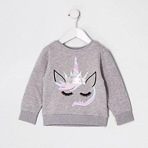 Sweat gris motif licorne pour mini fille