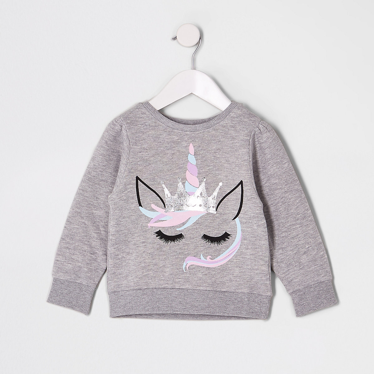 3df5d9129 Mini girls grey unicorn sweatshirt - Baby Girls Tops - Mini Girls ...