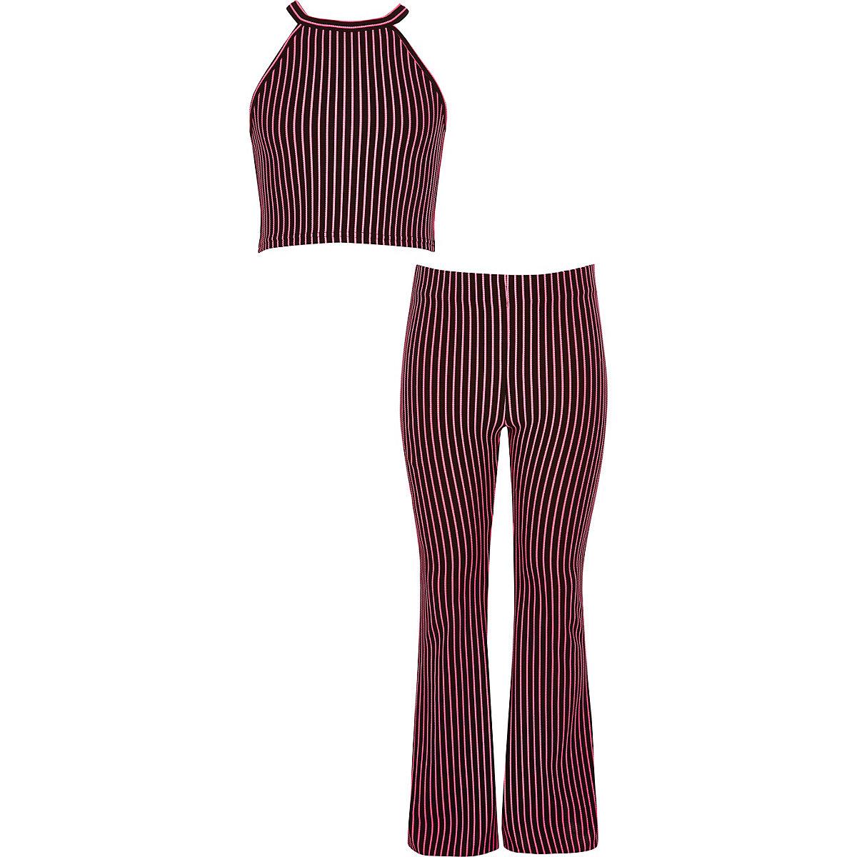 Girls pink stripe print crop top outfit