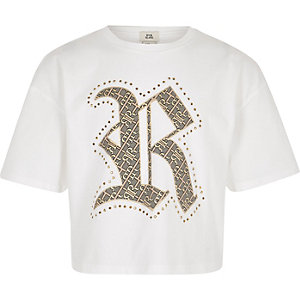 Girls white RI family twinning T-shirt